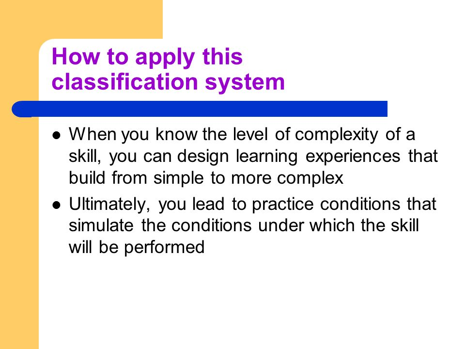 How to apply this classification system