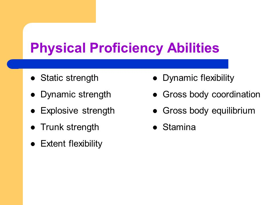 Physical Proficiency Abilities