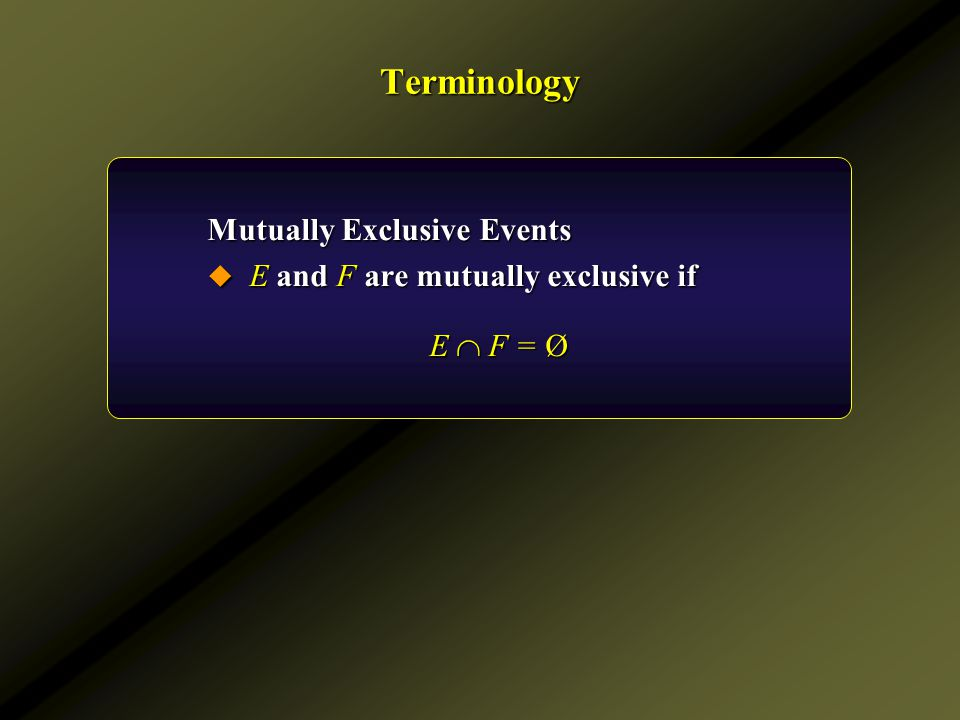 Terminology Mutually Exclusive Events