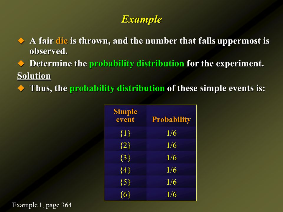 Example A fair die is thrown, and the number that falls uppermost is observed. Determine the probability distribution for the experiment.