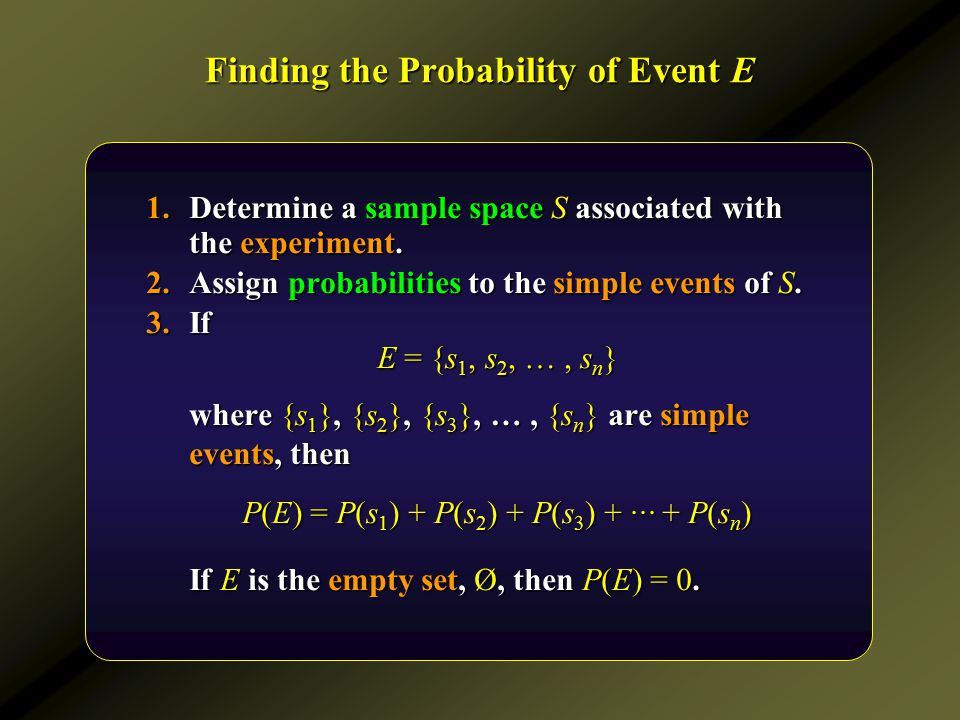 Finding the Probability of Event E