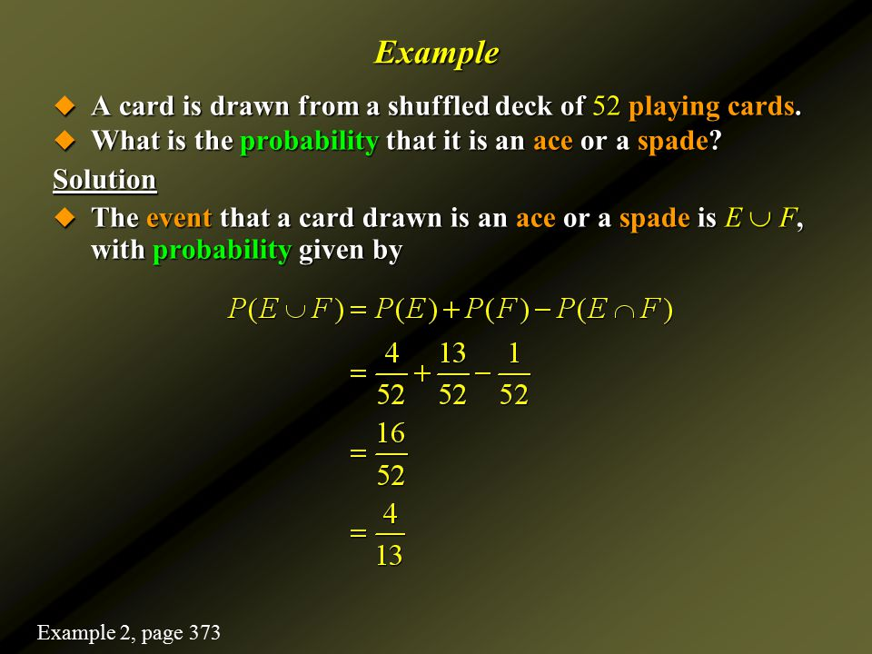Example A card is drawn from a shuffled deck of 52 playing cards.
