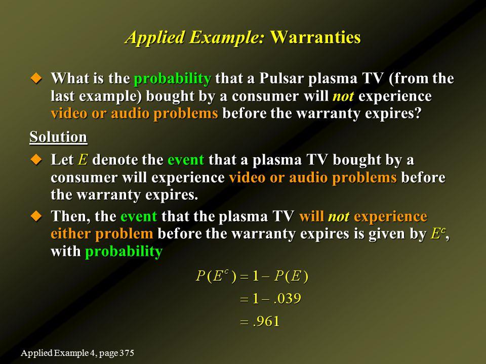 Applied Example: Warranties