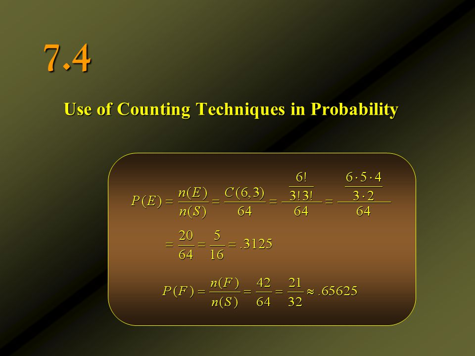 Use of Counting Techniques in Probability