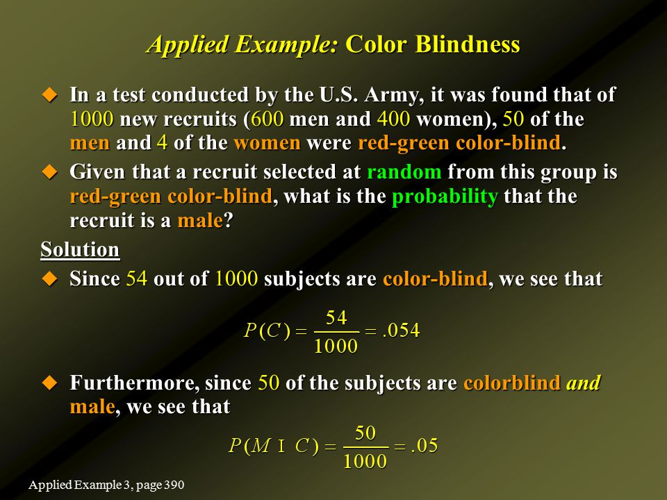 Applied Example: Color Blindness