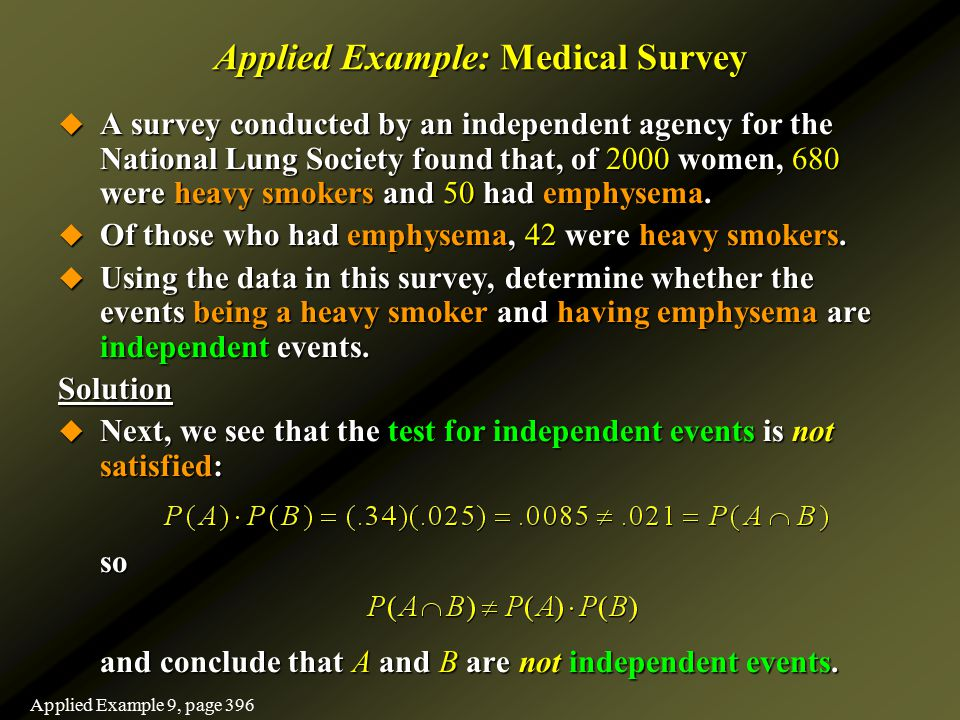 Applied Example: Medical Survey