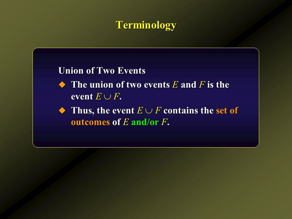Terminology Union of Two Events
