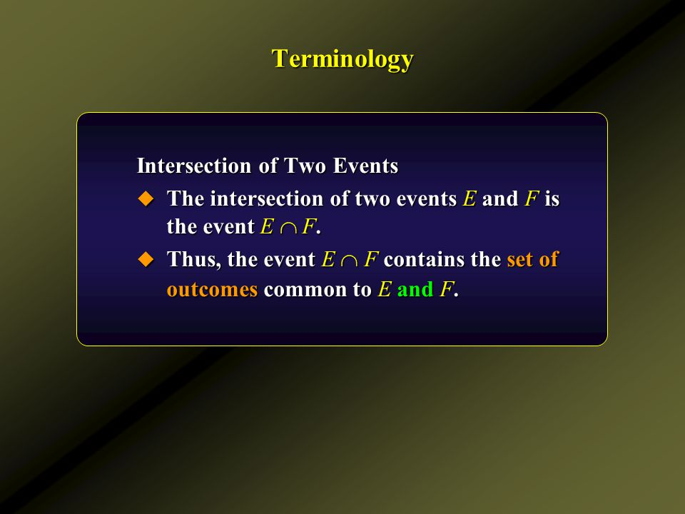 Terminology Intersection of Two Events