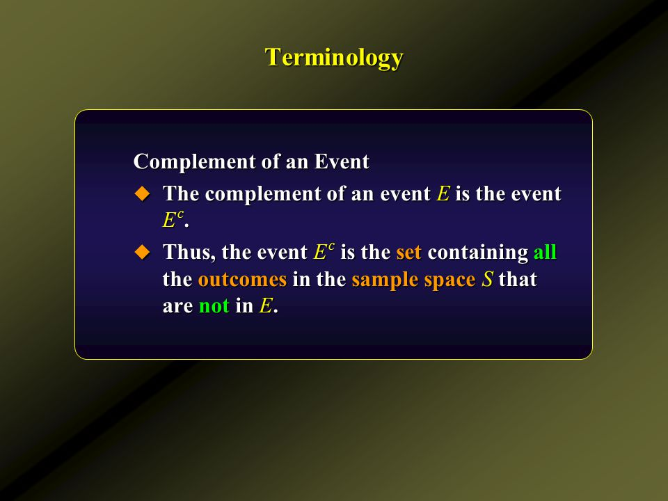 Terminology Complement of an Event
