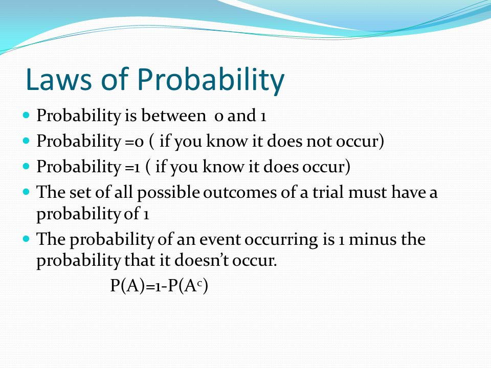 Laws of Probability Probability is between 0 and 1