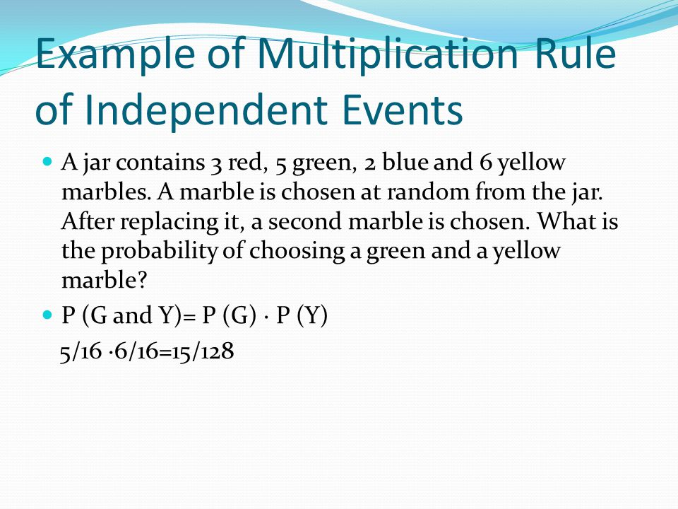 Example of Multiplication Rule of Independent Events