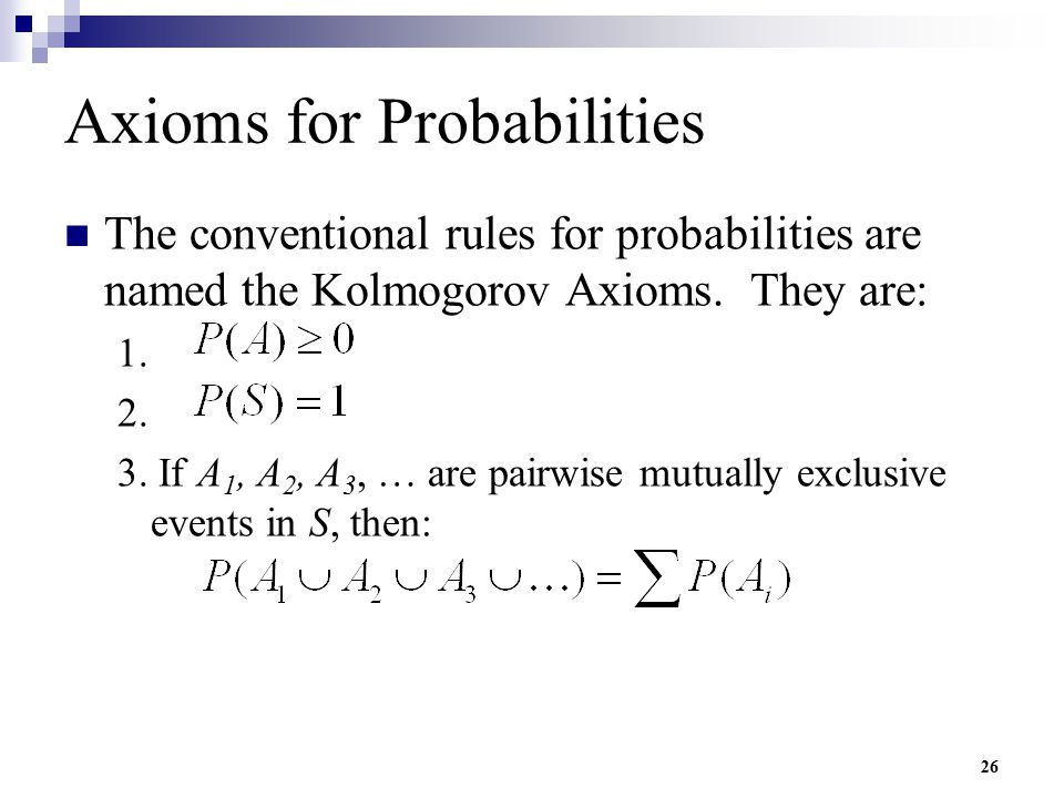 Axioms for Probabilities