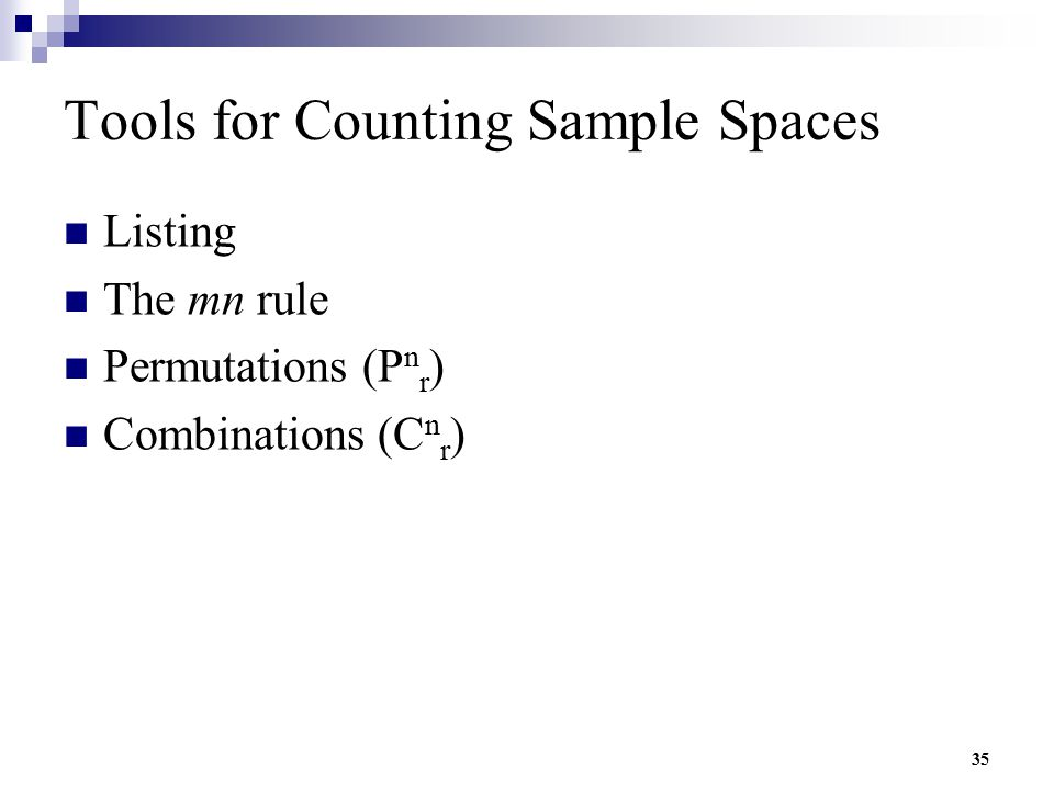 Tools for Counting Sample Spaces