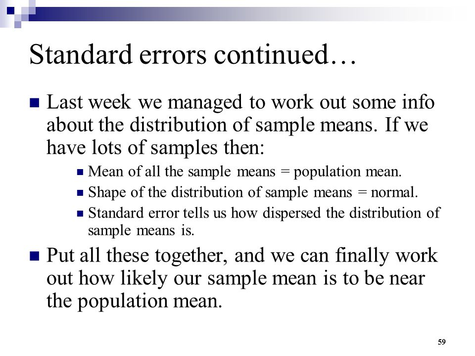 Standard errors continued…