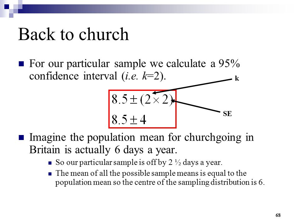 Back to church For our particular sample we calculate a 95% confidence interval (i.e. k=2).