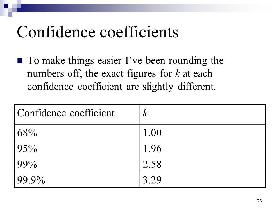 Confidence coefficients