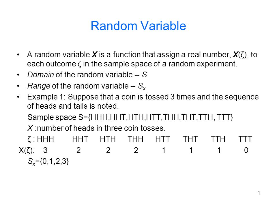 Random Variable A random variable X is a function that assign a real number, X(ζ), to each outcome ζ in the sample space of a random experiment.