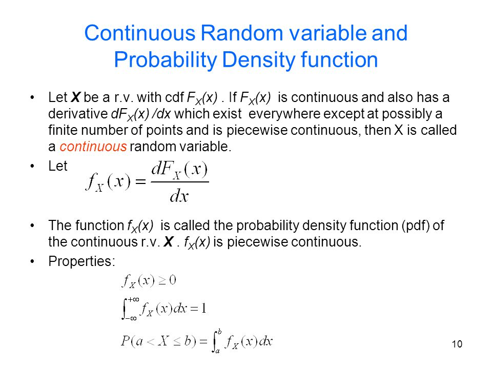Continuous Random variable and Probability Density function