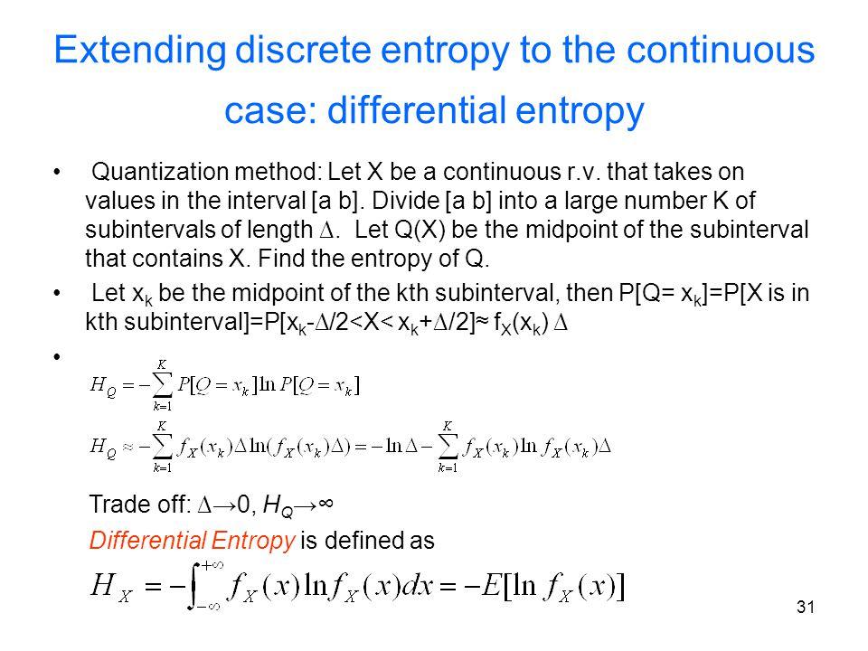 Extending discrete entropy to the continuous case: differential entropy