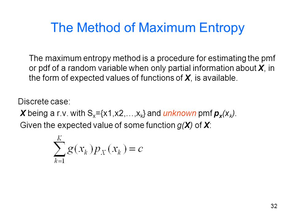 The Method of Maximum Entropy