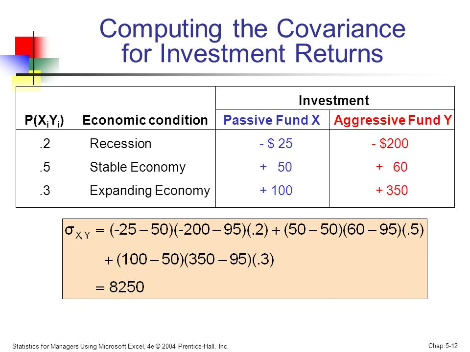 Computing the Covariance for Investment Returns