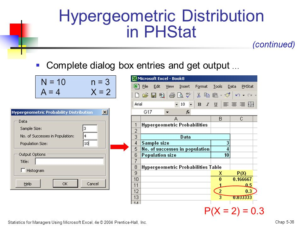 Hypergeometric Distribution in PHStat