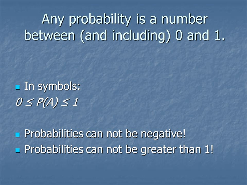 Any probability is a number between (and including) 0 and 1.