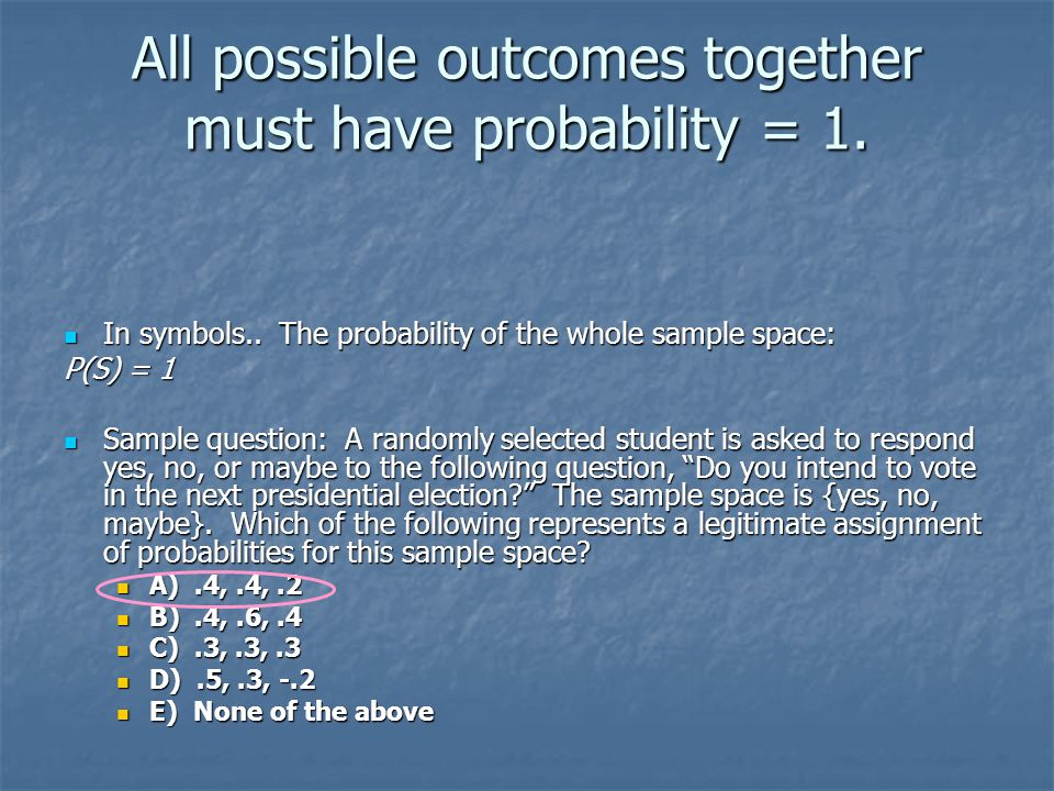 All possible outcomes together must have probability = 1.