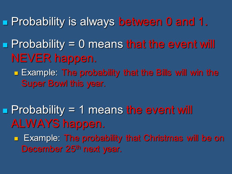 Probability is always between 0 and 1.