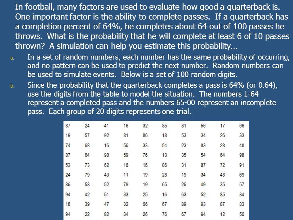 In football, many factors are used to evaluate how good a quarterback is. One important factor is the ability to complete passes. If a quarterback has a completion percent of 64%, he completes about 64 out of 100 passes he throws. What is the probability that he will complete at least 6 of 10 passes thrown A simulation can help you estimate this probability…