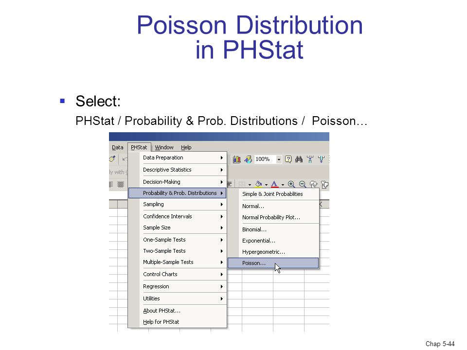 Poisson Distribution in PHStat