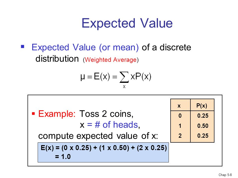 Expected Value Expected Value (or mean) of a discrete