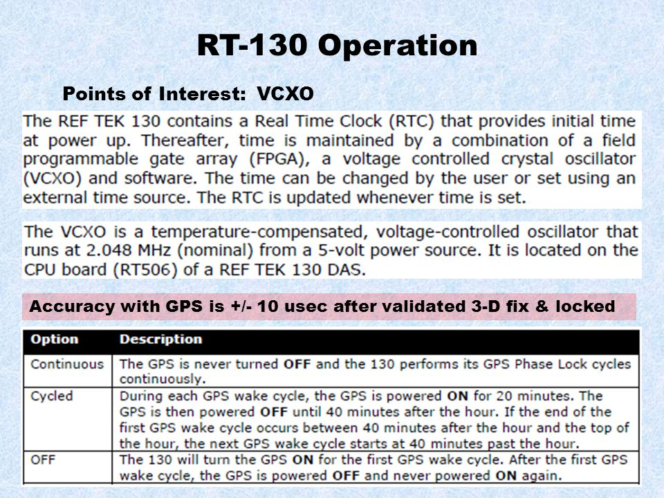 RT-130 Operation Points of Interest: VCXO