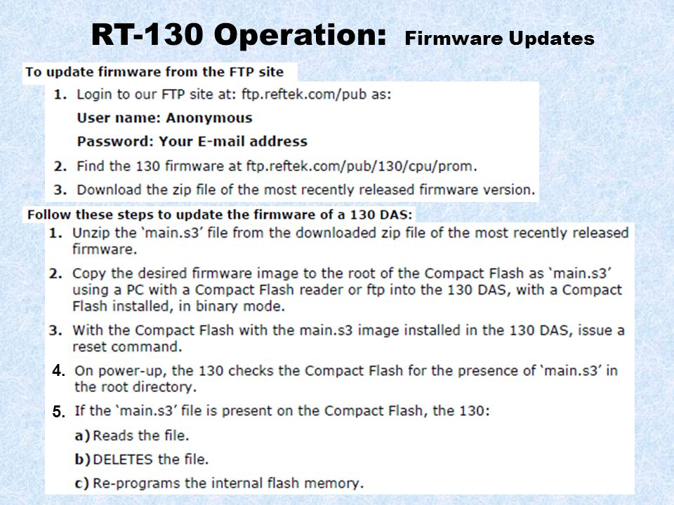RT-130 Operation: Firmware Updates