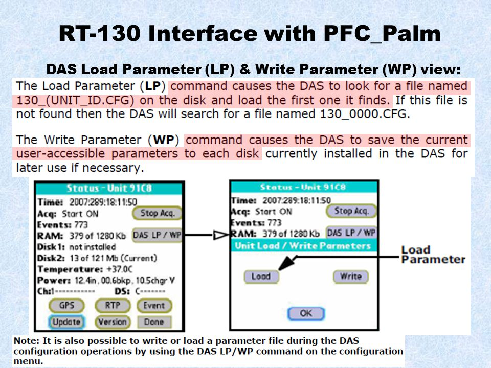RT-130 Interface with PFC_Palm