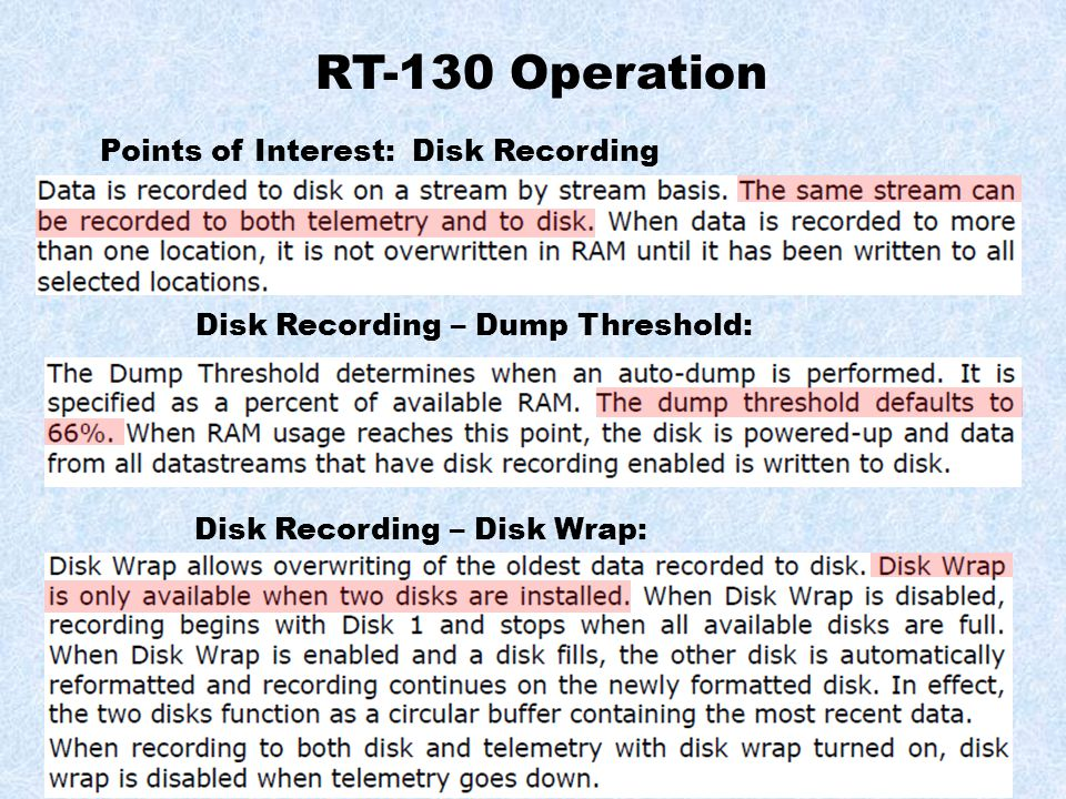 RT-130 Operation Points of Interest: Disk Recording