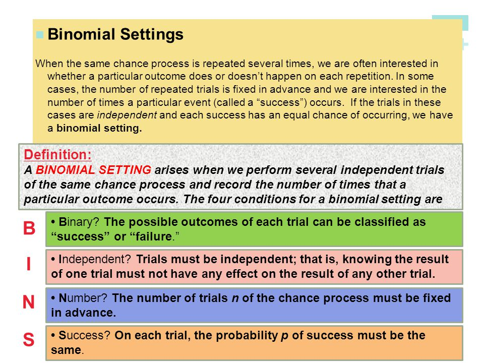 B I N S Binomial Settings Definition: