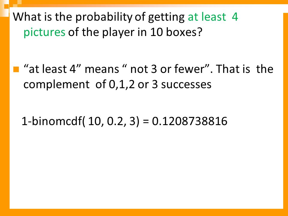 What is the probability of getting at least 4 pictures of the player in 10 boxes