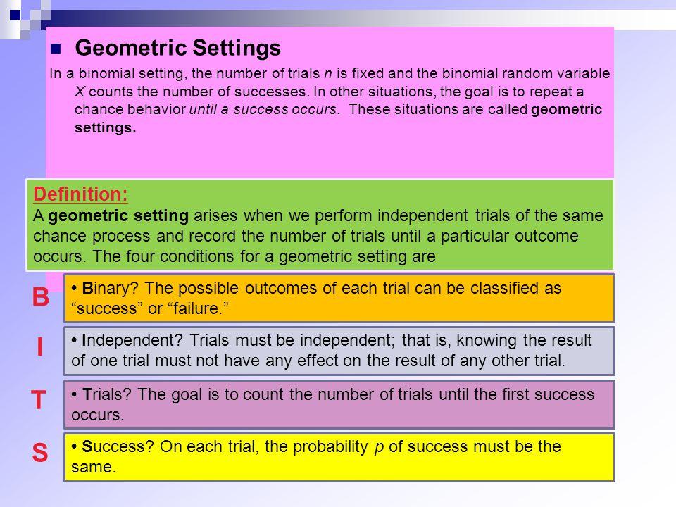 B I T S Geometric Settings Definition: