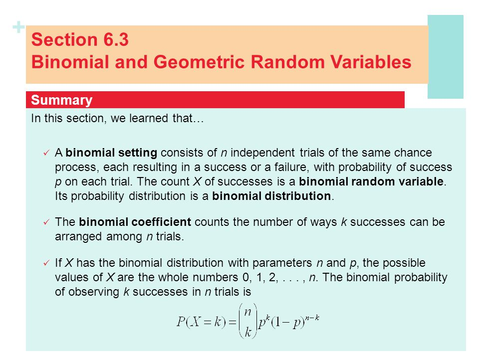Section 6.3 Binomial and Geometric Random Variables