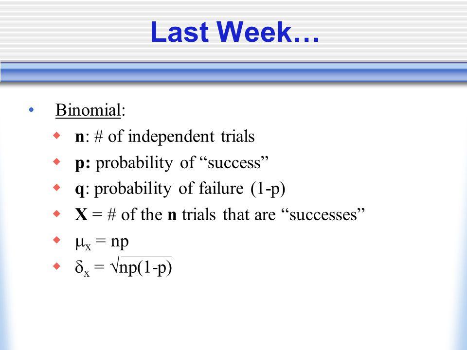 Last Week… Binomial: n: # of independent trials