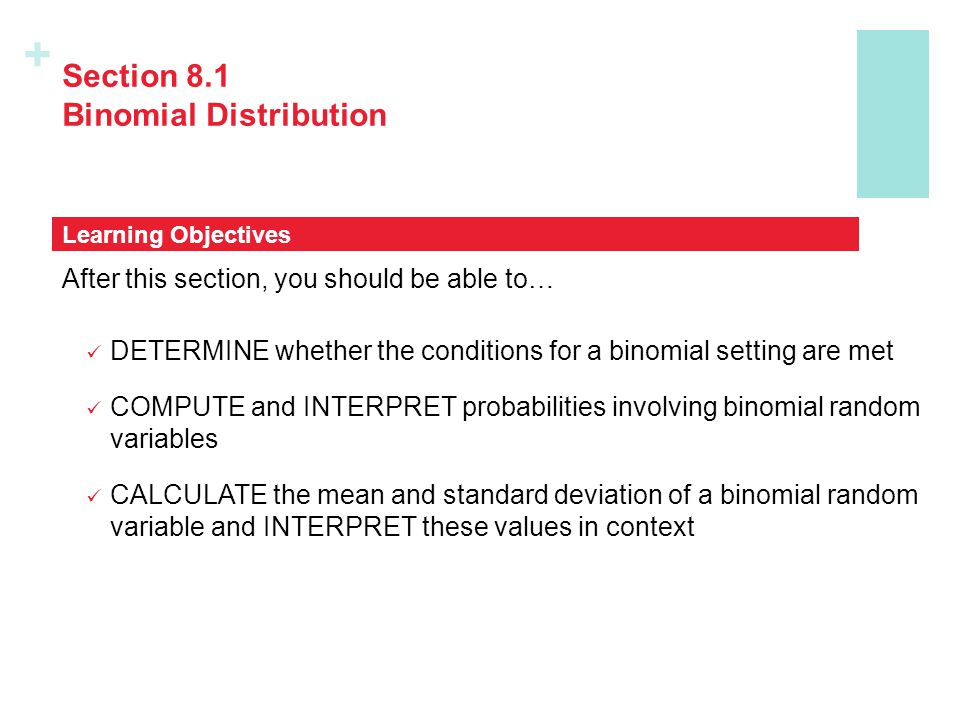 Section 8.1 Binomial Distribution