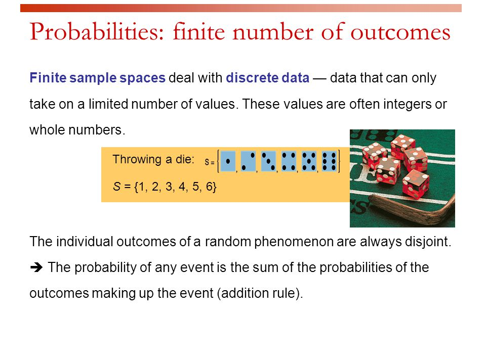 Probabilities: finite number of outcomes