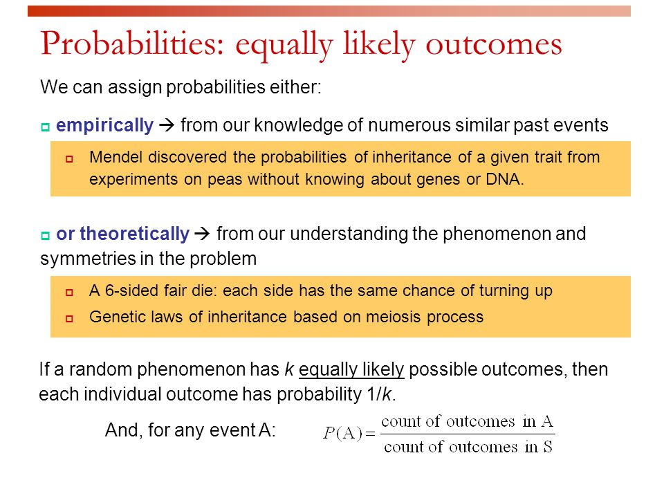 Probabilities: equally likely outcomes