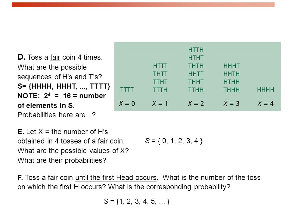D. Toss a fair coin 4 times. What are the possible sequences of H's and T's