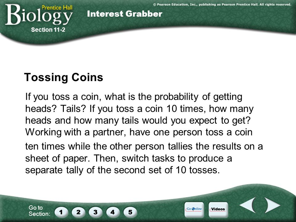 Interest Grabber Section 11-2. Tossing Coins.