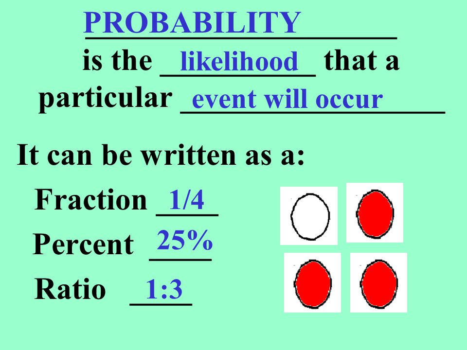 PROBABILITY ____________________ is the __________ that a particular _________________. likelihood.