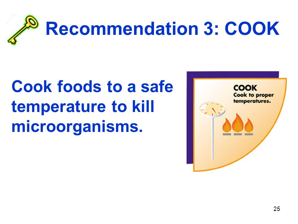 Recommendation 3: COOK Cook foods to a safe temperature to kill microorganisms.