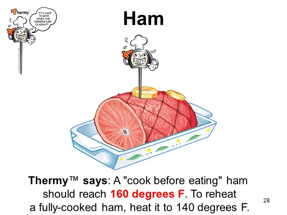 Ham Thermy™ says: A cook before eating ham should reach 160 degrees F.
