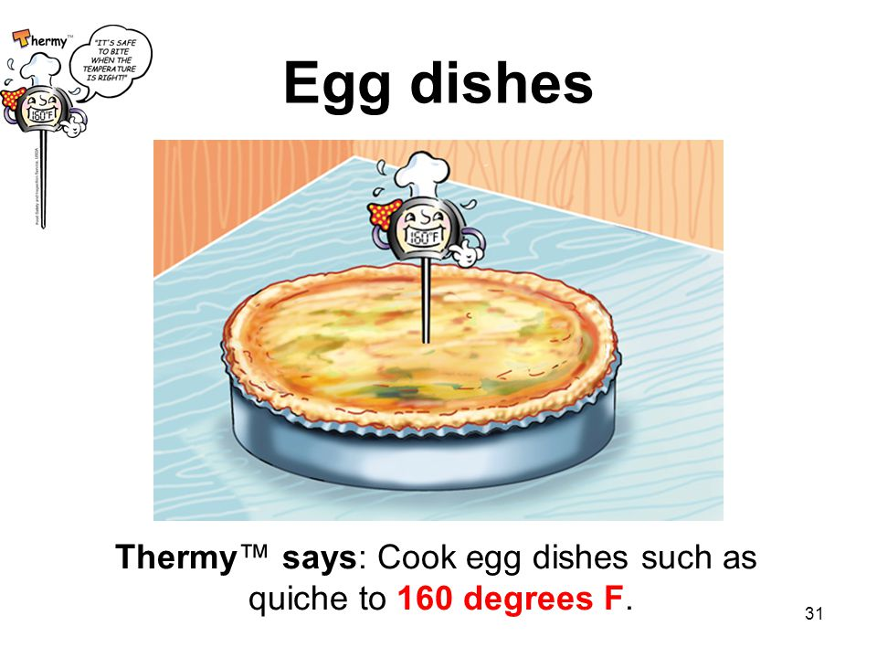 Thermy™ says: Cook egg dishes such as quiche to 160 degrees F.
